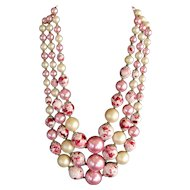 Cream and Variegated Pink 3 Strand Bib Necklace - Japan