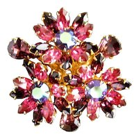 Purple and Blue Rhinestone Brooch