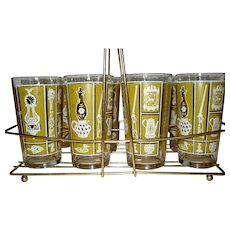 Set of 8 Tumblers in Carry Rack - Yellow/Gold Early American Motif