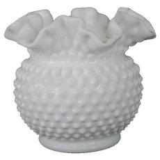 """Fenton White Milk Glass Hobnail Squat Vase - 5 1/2"""""""