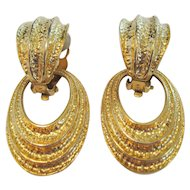 Avon Gold Tone Door Knocker Earrings