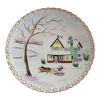 Hand Painted Christmas Scene Artist Signed Decorator Plate
