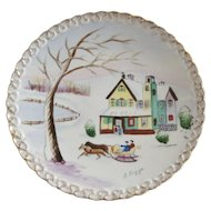Hand Painted Christmas Scene Artist Signed Decorator Plate