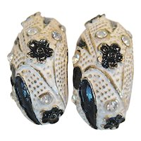 BSK Black and White Clip Earrings