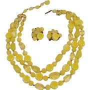 W. Germany Yellow Beaded Necklace and Clip Earrings