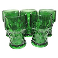 Set of 5 Anchor Hocking Green Georgian Tumblers