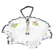 Fenton Violets In The Snow Tidbit or Candy Tray