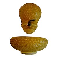 Fenton Honey Amber Hobnail Lavabo - No Lid
