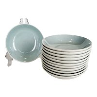 Set of 12 Harkerware Dessert Bowls - Turquoise and White