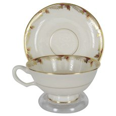 Lenox Essex Maroon Smooth Cups and Saucers - 11 Available