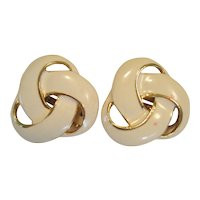 Cream Colored on Gold-Tone Clip Earrings - Large Love Knots