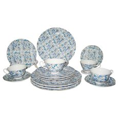 15 Pieces Lefton Blue Paisley Dinnerware