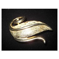 Monet Goldtone Swirl Leaf Brooch