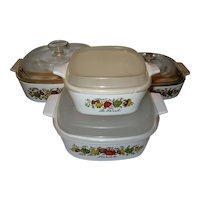 """4 Piece Set Corning Ware """"Spice of Life"""" with Lids"""