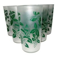 Set of 6 Frosted Federal Leaf Drinking Glasses