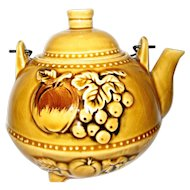 Gold Colored Fruits and Flowers Teapot - Japan
