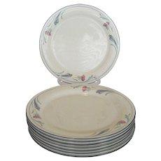 "Set of 8 Lenox ""Poppies on Blue"" Dinner Plates"