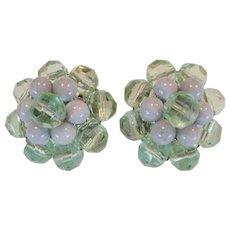 Green Beaded Clip-On Earrings - W. Germany