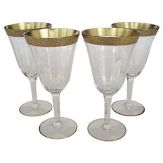 Set of 4 Etched Gold Band Water or Wine Goblets - Red Tag Sale Item