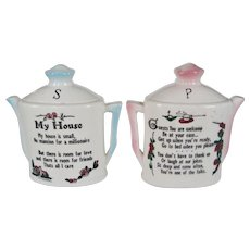 """""""My House"""" Salt and Pepper Shakers - Teapot Shape"""