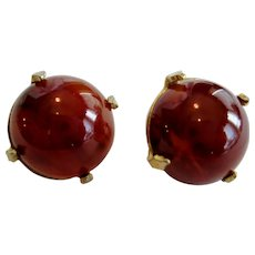Star Red on Gold-tone Clip Earrings
