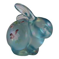 Fenton Hand Painted Blue Bunny Rabbit