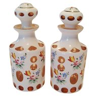 Pair of Antique Moser Perfumes - White Over Pink