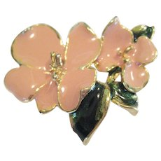 Enameled Flower and Leaf Pin/Brooch