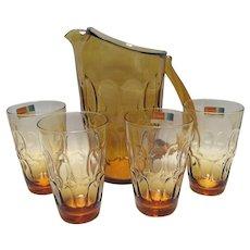 Fostoria Mesa Amber Pitcher and 4 Flat Juice Glasses