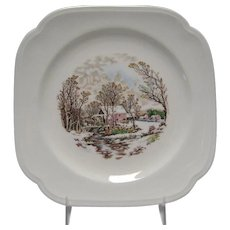 Set of 4 Edwin Knowles Winter Scene Square Salad Plates