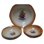 7 Pc. Berry or Salad Bowl Set - Ship Decals