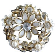 Goldtone Brooch With Faux Pearls, Rhinestones and Enameled Leaves