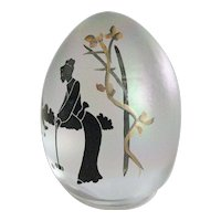 Fenton Hand Painted Iridescent Egg - Croquet