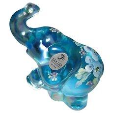 Fenton Blue Topaz Iridized Hand Painted Elephant