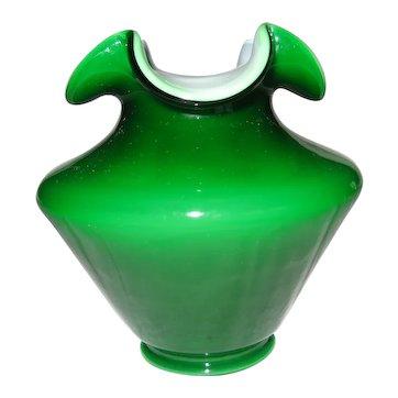 Fenton Ivy Overlay Vase