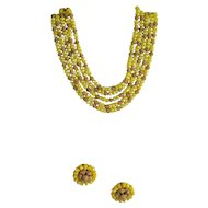 Vogue Yellow and Goldtone 5-Strand Necklace and Earrings