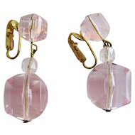 Germany Pink Lucite Beaded Earrings - Clip-on