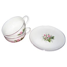 4 Pcs. Royal China Queen's Rose - 2 Cups & 2 Bread & Butter Plates