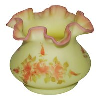 Fenton Roses on Burmese Squat Vase