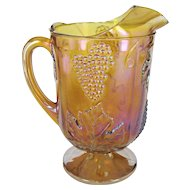 Gold Carnival Indiana Glass Grape Leaf Pitcher