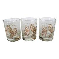 """Set of 3 """"Tastesetter"""" Owl Old Fashion Glasses"""