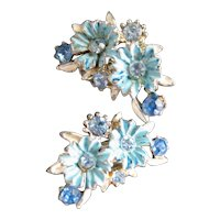 Blue Enameled and Rhinestones Clip-On Earrings