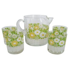 Small Pitcher and 4 Glasses - Daisies