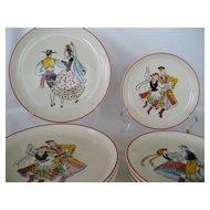 Set of 8 West Germany Ethnic Folk Dancer Plates