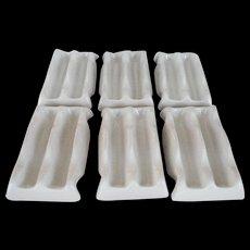 Set of 6 White Frankoma Taco Holders