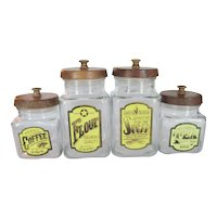 Set of 4 Anchor Hocking Canisters
