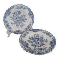 Set of 5 Crown Ducal Bristol Blue Rimmed Soup Bowls