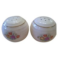 Round Shaped Floral Petit Point Salt and Pepper Shakers