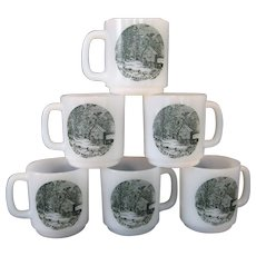 """Set of 6 Glasbake """"The Old Homestead In Winter"""" Mugs - Currier & Ives Green"""