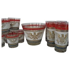 15 Piece Drink/Bar Set in Patriotic Pattern